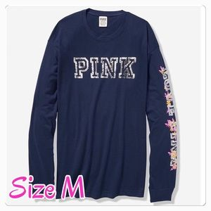 PINK BLING LONG SLEEVE CAMPUS TEE. M